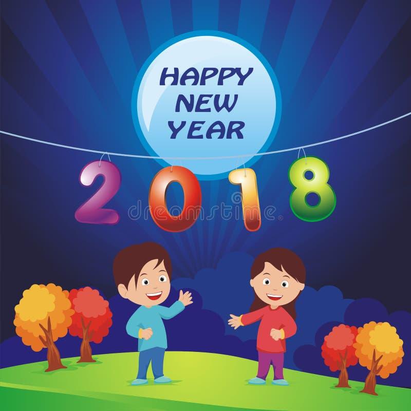 New Year 2018 illustration stock photos