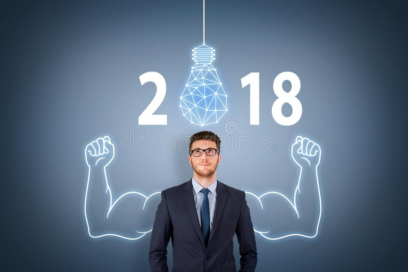 New Year 2018 Innovation Concepts on Visual Screen. New year working stock photography
