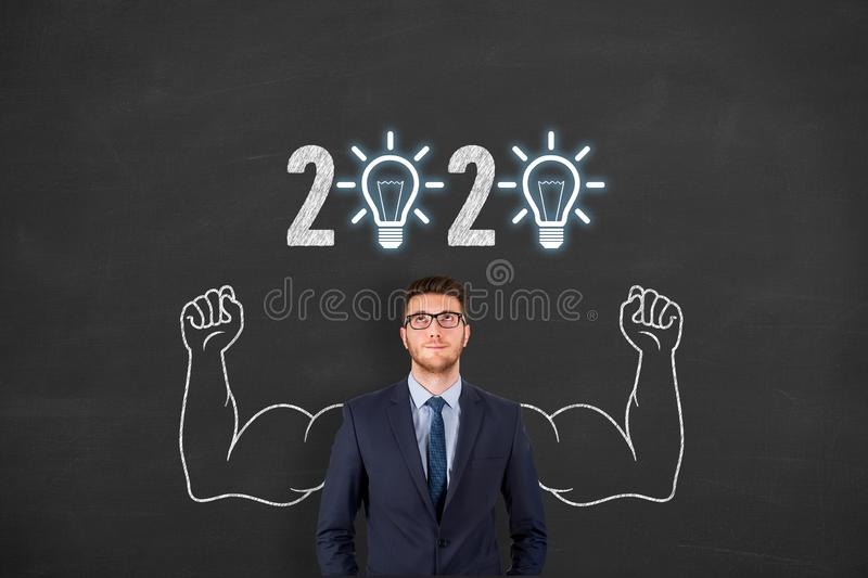 New Year 2020 Innovative Idea Concepts on Blackboard Background stock images