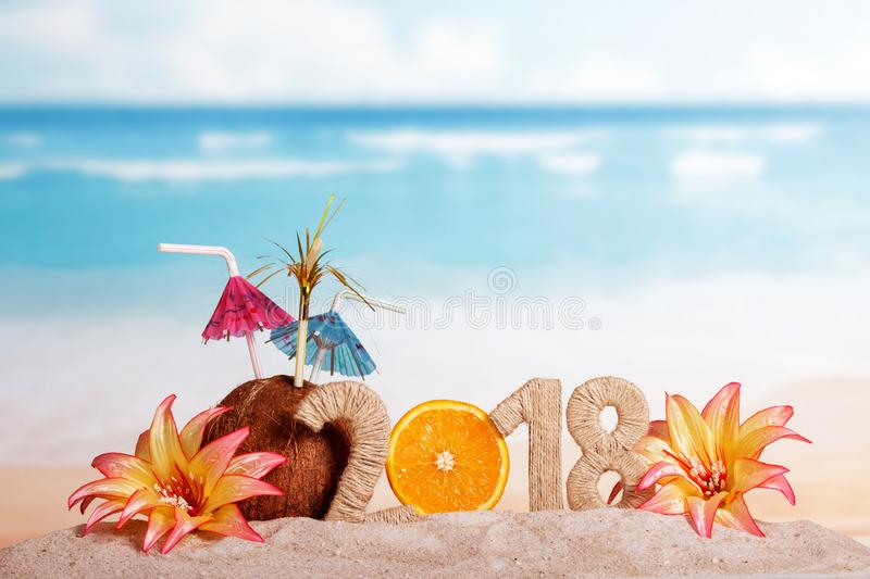 New Year inscription 2018, half of orange instead of numbers 0, stock image