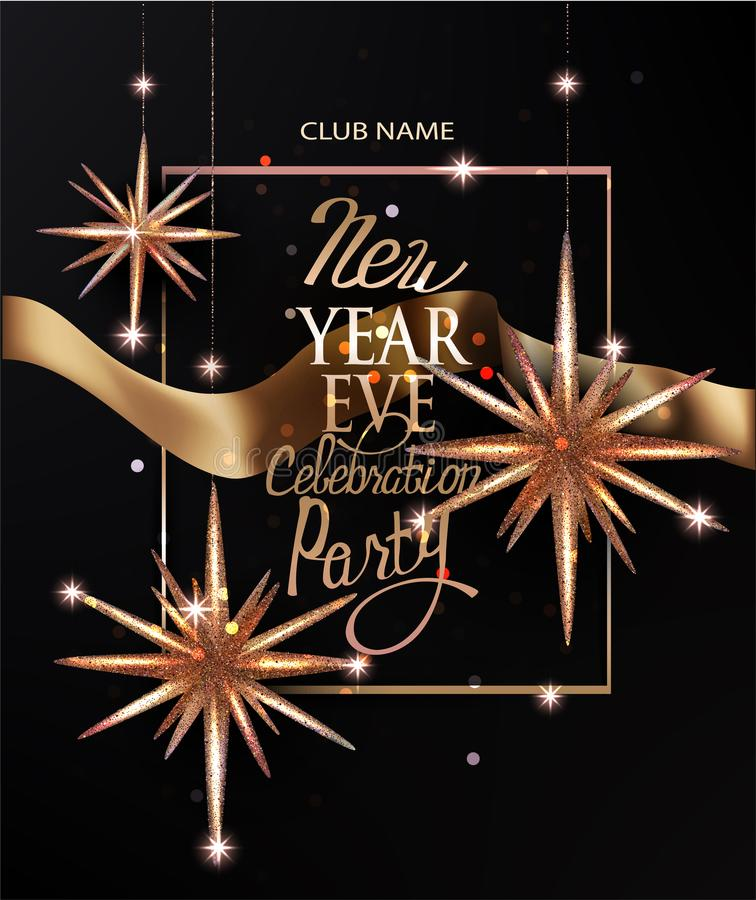 New year invitation card with christmas deco stars and gold ribbon. Vector illustration royalty free illustration