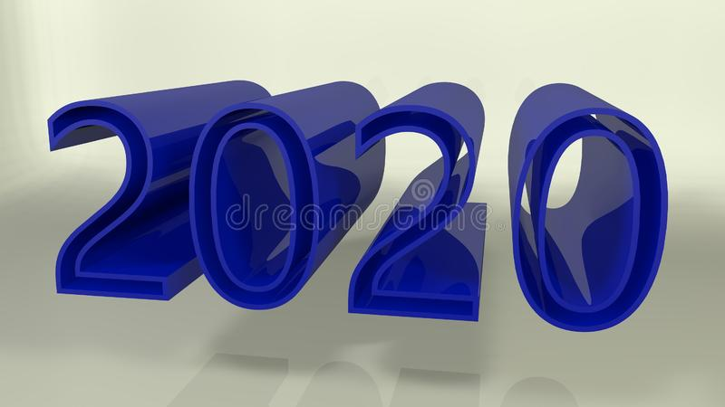 New year 2019 (isolated on white background). 3d rendered illustration. New year 2020 text (isolated on white background). 3d rendered stock illustration