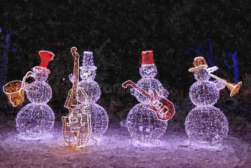 New year jazz band. Snowmen. Christmas still-life. Painting wet watercolor on paper. Naive art. Abstract art. Drawing watercolor royalty free illustration