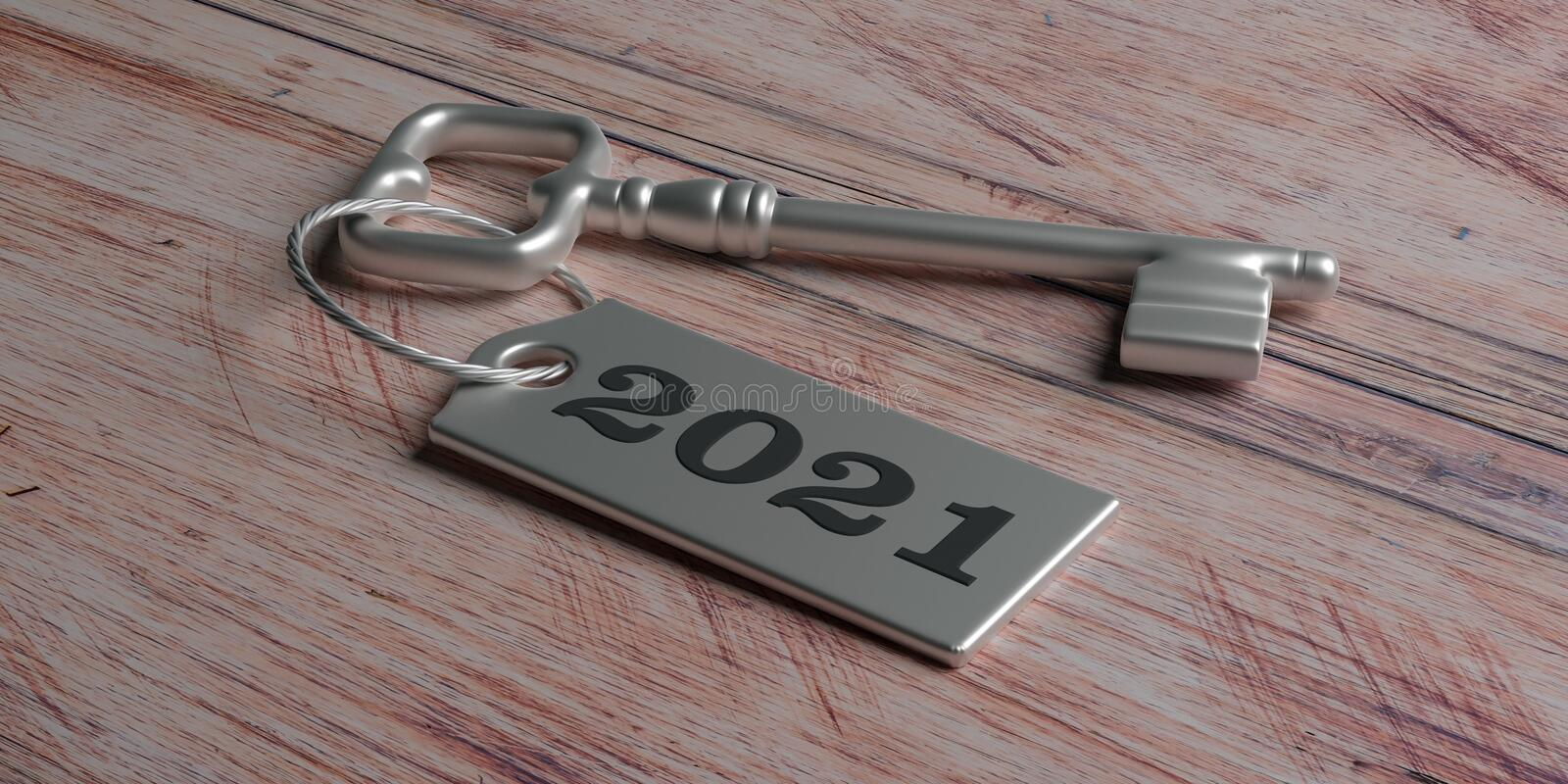 2021 New year, Label 2021 on door key against wood. 3d illustration royalty free illustration