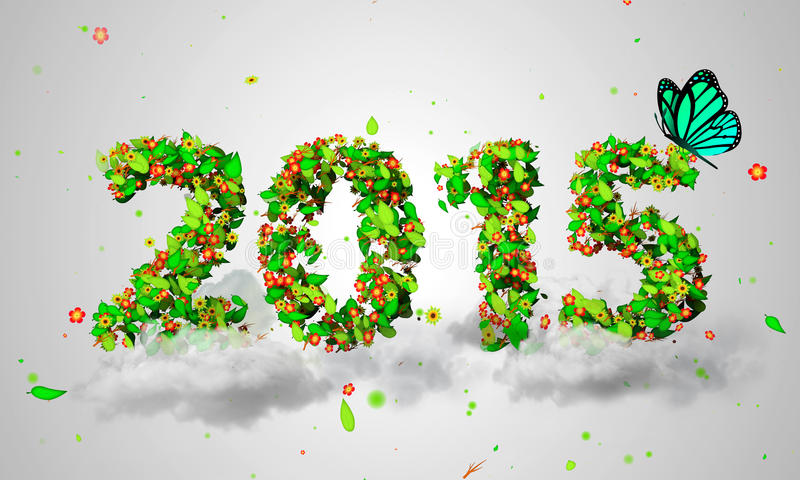 2015 New Year Leaves Particles Blue Butterfly 3D. Digital art royalty free stock photography