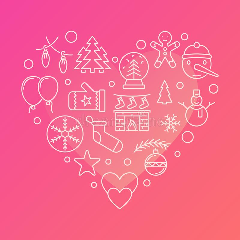 New Year line icons in the shape of a heart. Vector illustration stock illustration