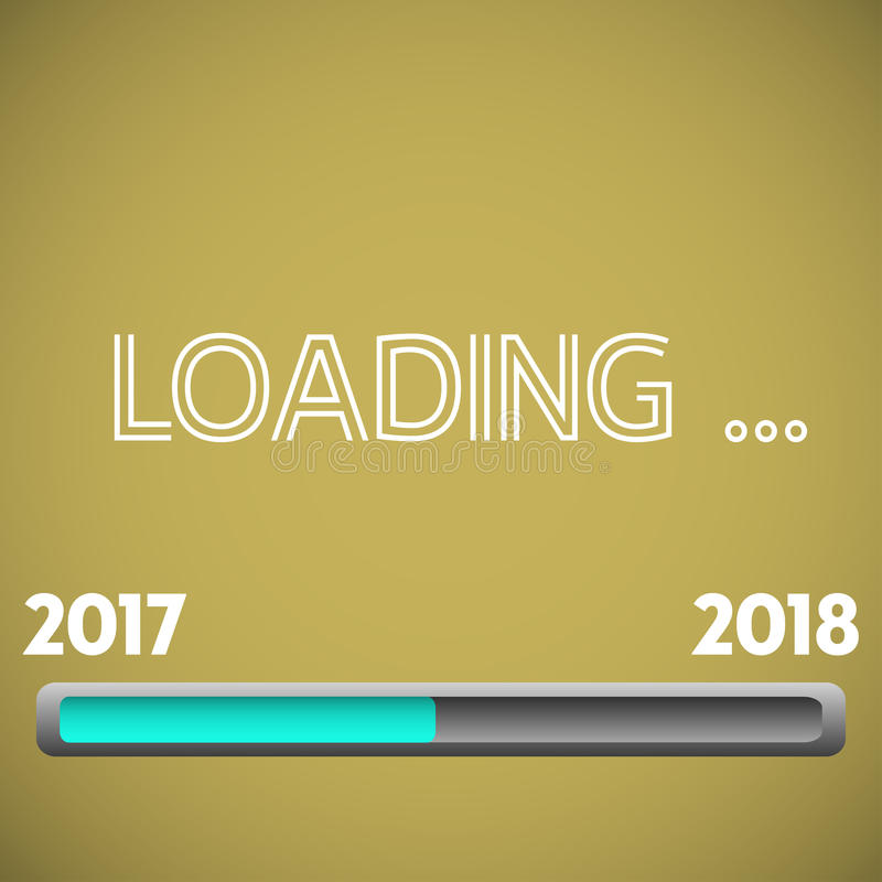 New Year loading. Colorful illustration with loading bar from 2017 to 2018. New Year concept stock illustration
