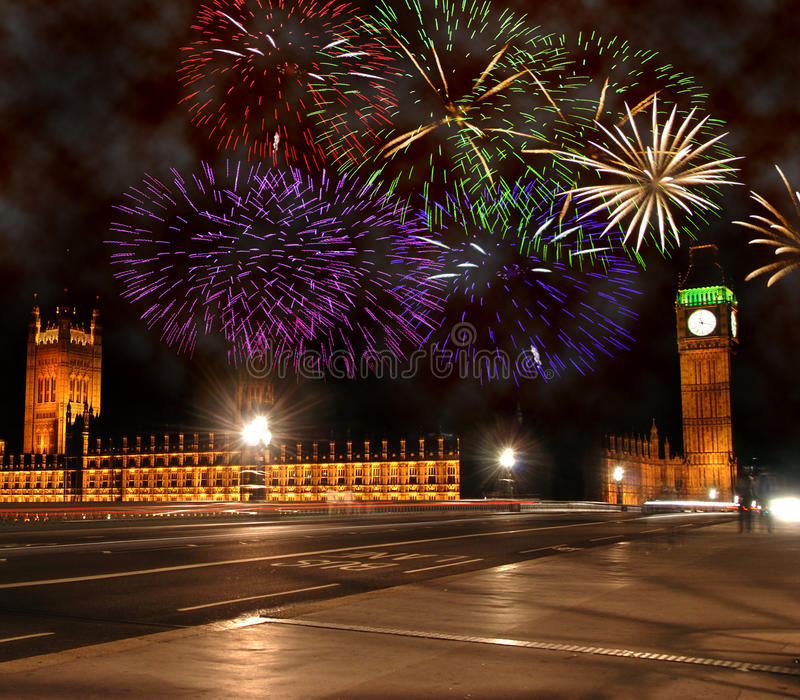 New Year in London. New Year celebrations in London. Fireworks above Big Ben and Houses of Parliament stock image