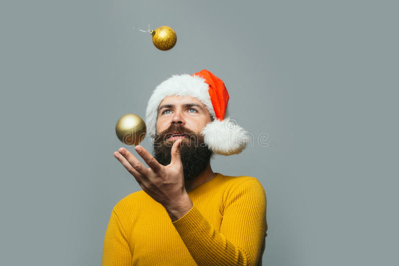 New year man with decoration ball stock images