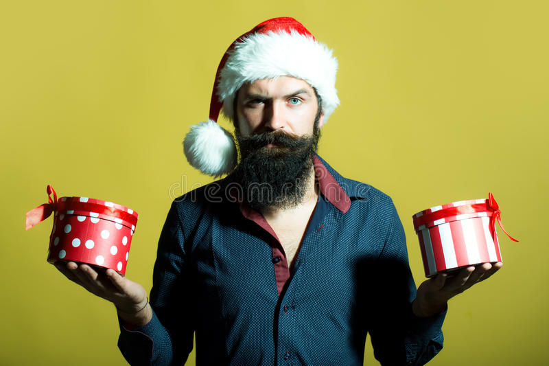 New year man with presents royalty free stock photo
