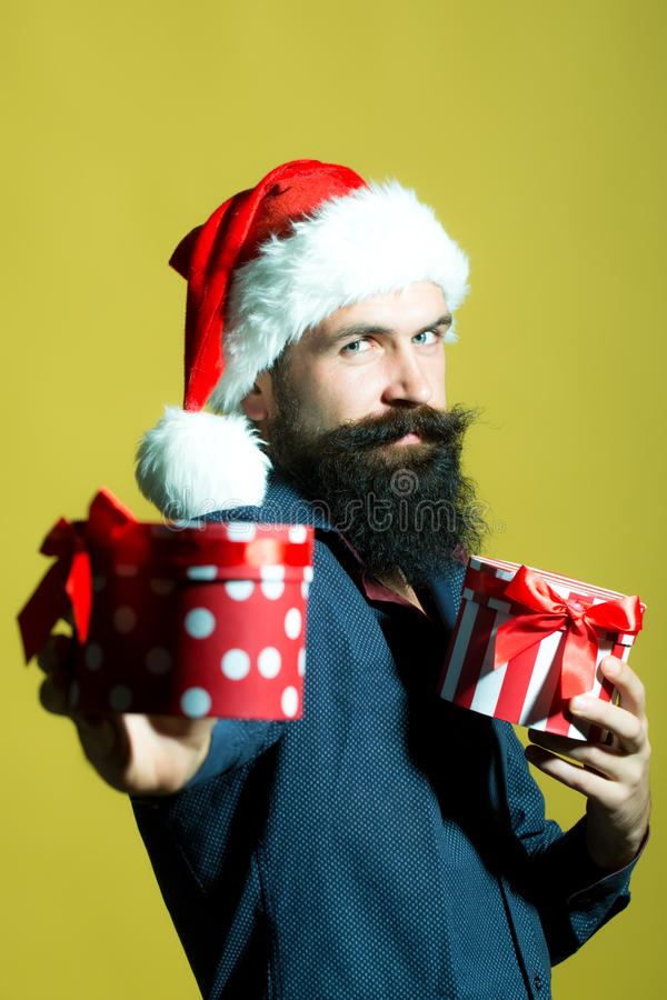 New year man with presents stock images
