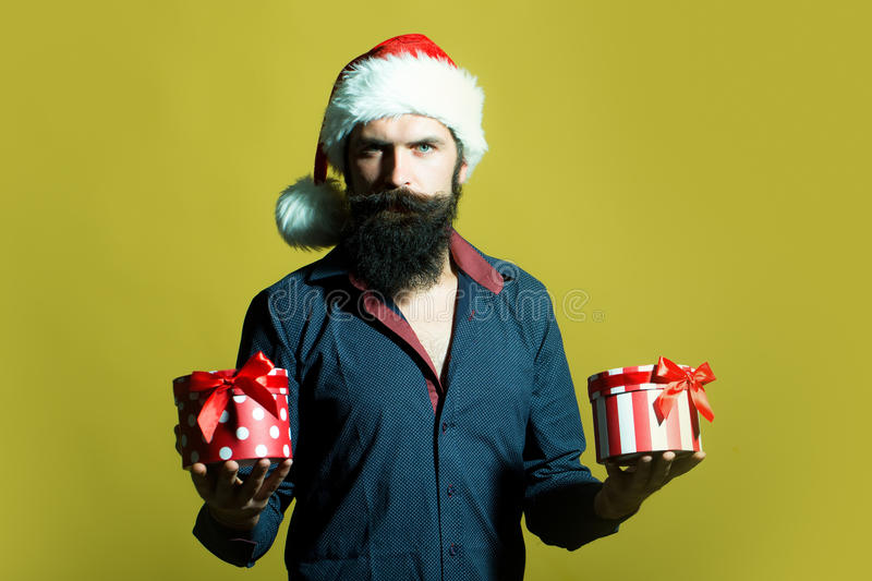 New year man with presents royalty free stock photography