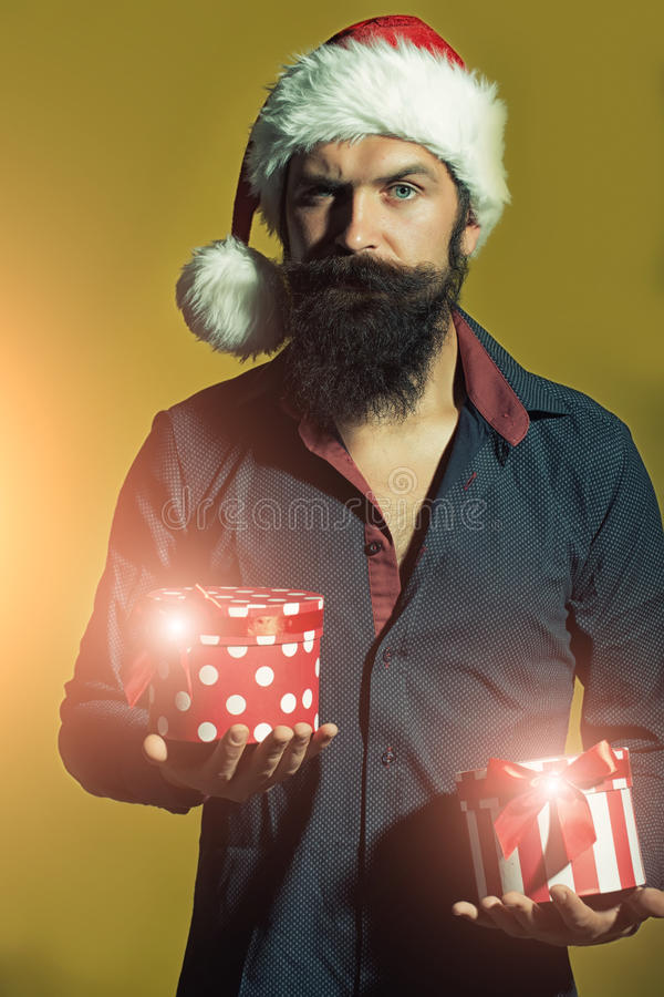 New year man with presents stock image