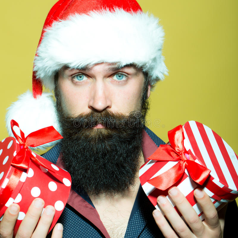 New year man with presents stock photography