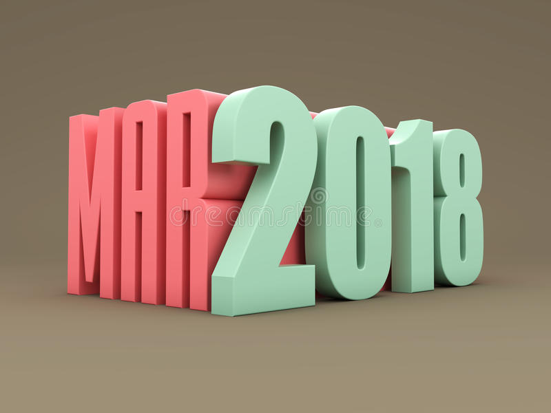 New Year 2018 with March Month. 3D Rendered Image stock illustration