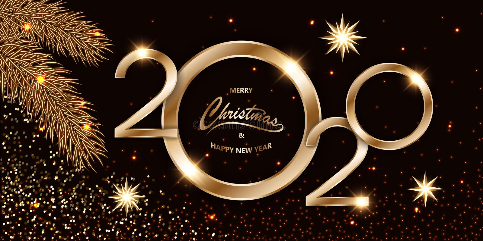 Merry Chistmas Happy New Year 2020 shining luxury Xmas dark background with gold text, confetti, fir branches and glitter star. Merry Chistmas and Happy New Year royalty free illustration