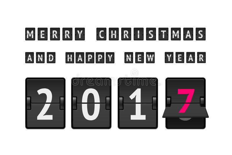 New Year and Merry Christmas concept. Flip board clock at final state from 2016 to 2017. Analog scoreboard flip calendar changes to another new year. Digital stock illustration