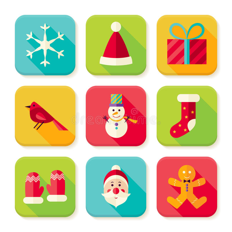 New Year and Merry Christmas Square App Icons Set royalty free illustration