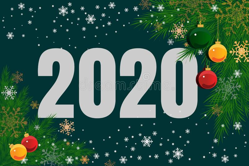 2020 New year. Modern Christmas banner. Design greeting cards. Vector illustration royalty free stock images