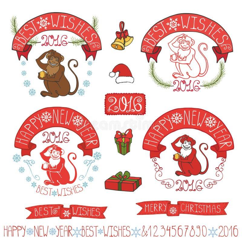 New Year 2016 Monkey labels,decoration vector illustration