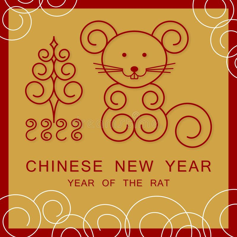 New Year mouse 2020 and tree royalty free stock photo