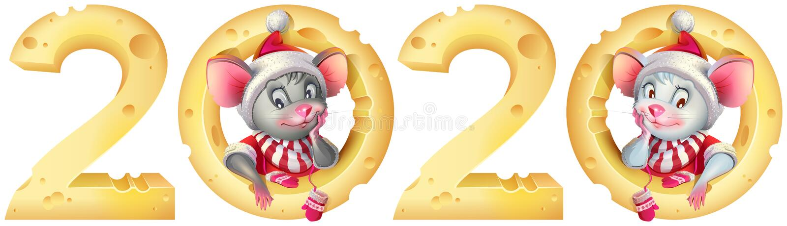 New year 2020 mouse twins. Mice in santa costume and cheese calendar royalty free illustration