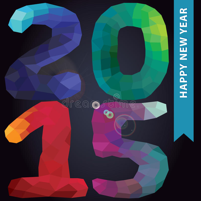 New year 2015.Multicolor polygons numbers in square stock illustration