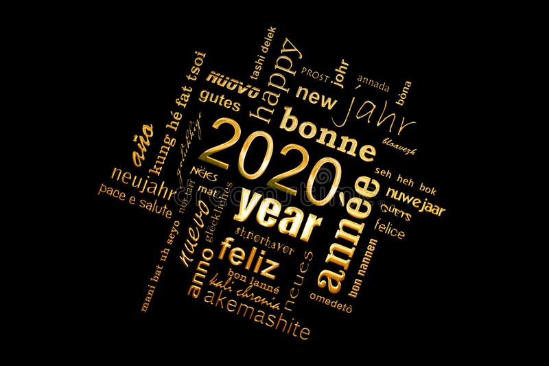 2020 new year multilingual golden text word cloud greeting card on black background royalty free illustration