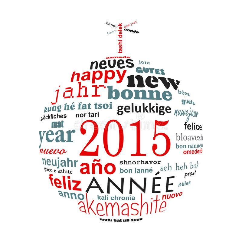2015 new year multilingual text word cloud greeting card. In the shape of a christmas ball stock illustration