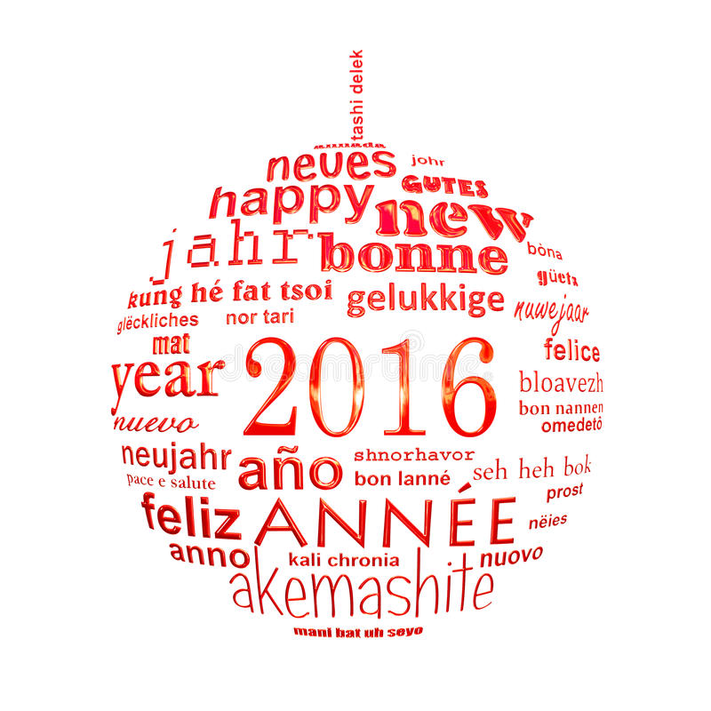 2016 new year multilingual text word cloud greeting card. In the shape of a christmas ball royalty free illustration