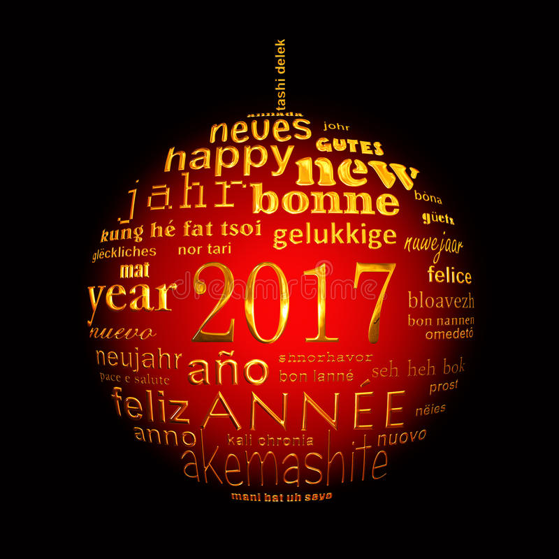 2017 new year multilingual text word cloud greeting card. In the shape of a christmas ball vector illustration