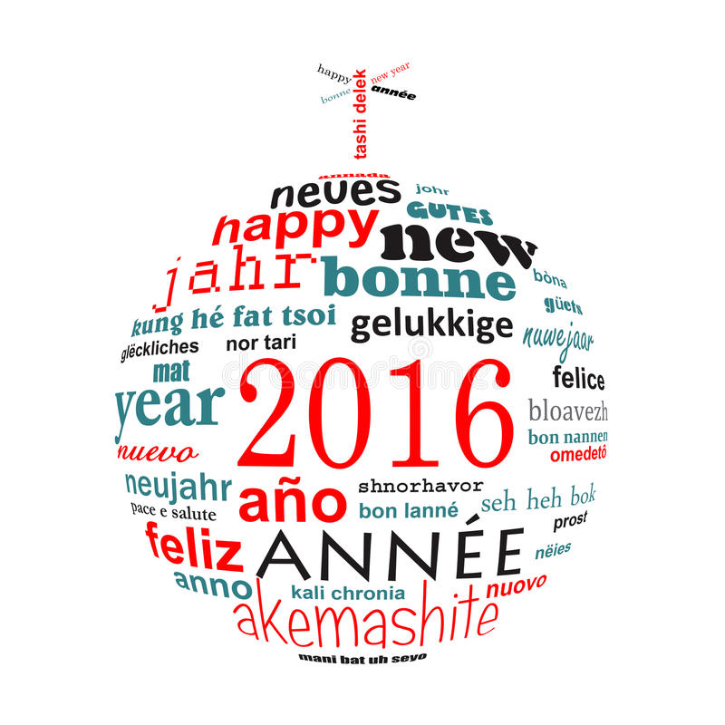 2016 new year multilingual text word cloud greeting card in the shape of a christmas ball. Isolated on white vector illustration