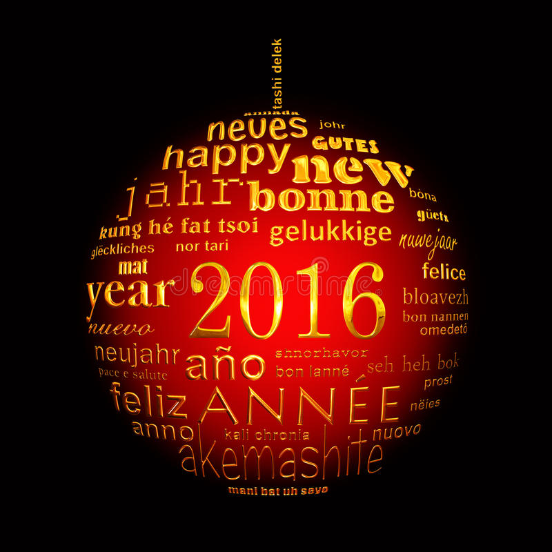 2016 new year multilingual text word cloud greeting card in the shape of a christmas ball. Oon black royalty free illustration