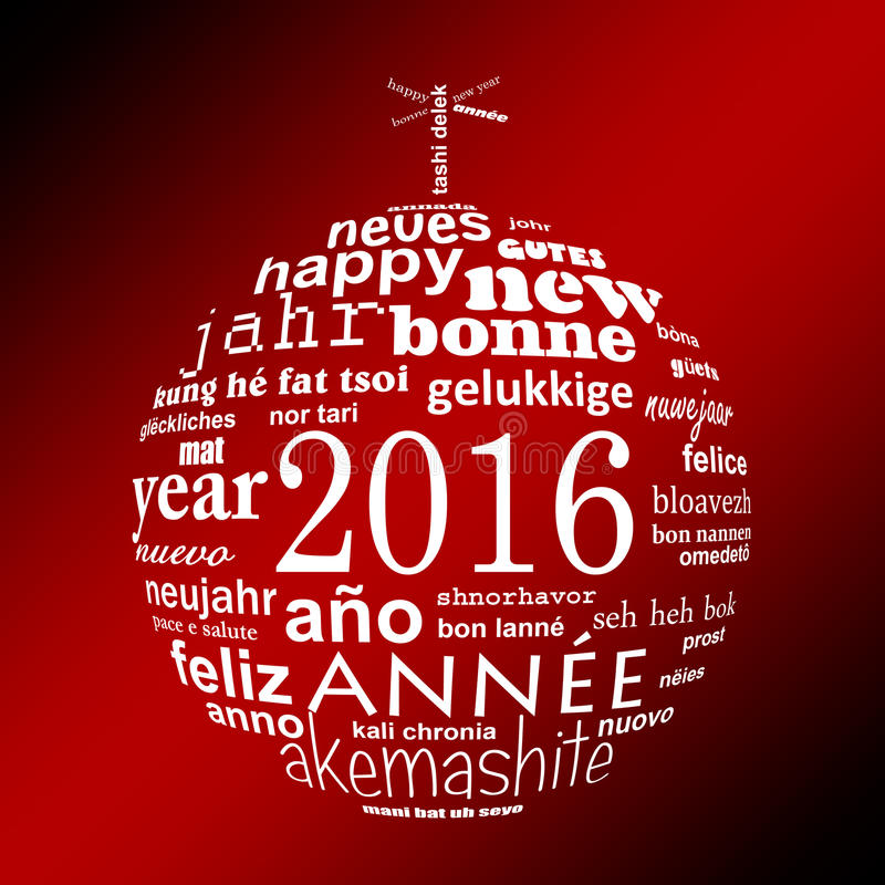2016 new year multilingual text word cloud greeting card in the shape of a christmas ball. On red background royalty free illustration