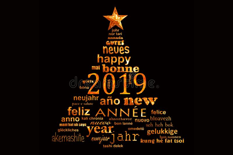2019 new year multilingual text word cloud greeting card in shape of a christmas tree stock illustration