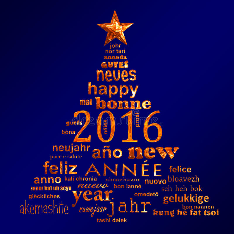 2016 new year multilingual text word cloud greeting card in the shape of a christmas tree. 2016 new year multilingual text word cloud greeting card in the shape stock illustration