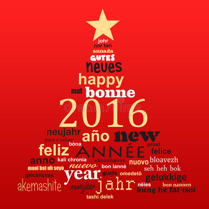 2016 new year multilingual text word cloud greeting card. In the shape of a christmas tree royalty free illustration