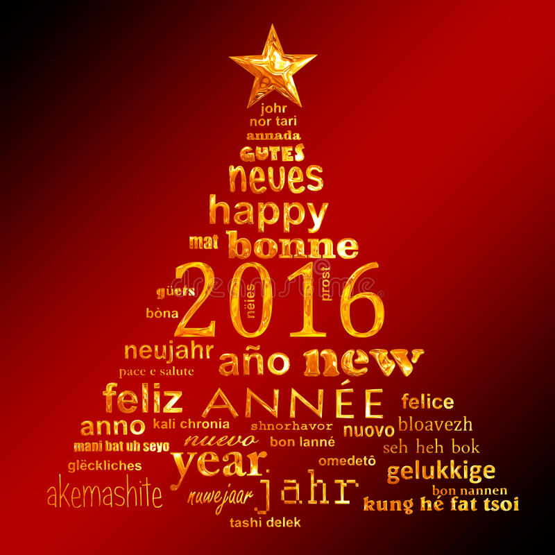 2016 new year multilingual text word cloud greeting card. In the shape of a christmas tree stock illustration