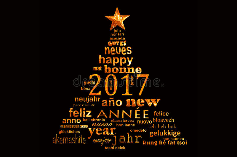 2017 new year multilingual text word cloud greeting card, shape of a christmas tree. 2017 new year multilingual text word cloud greeting card in the shape of a stock illustration