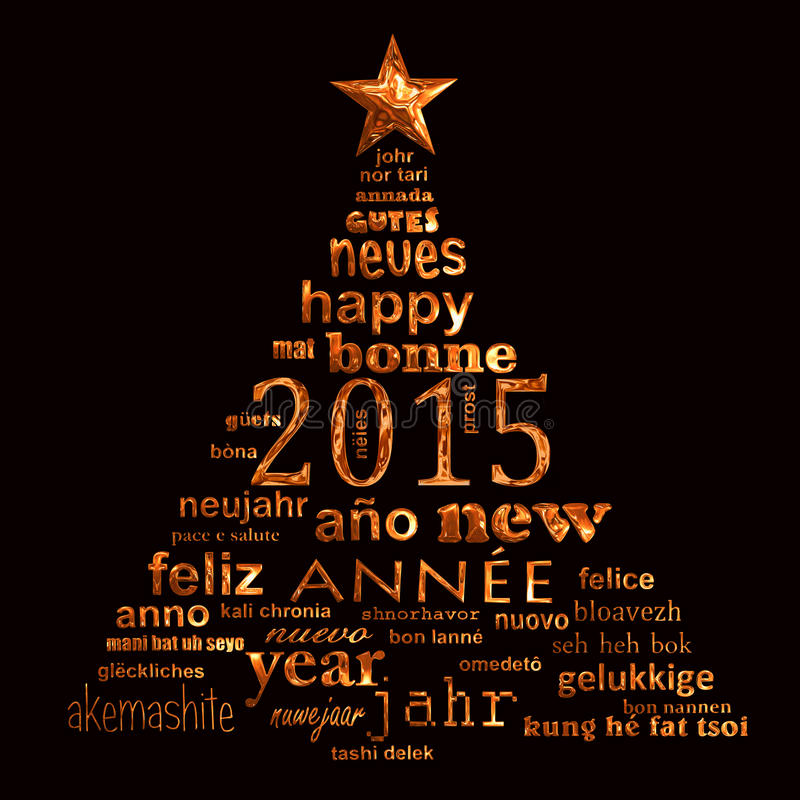 2015 new year multilingual text word cloud greeting card in the shape of a christmas tree stock illustration