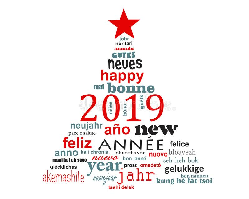 2019 new year multilingual text word cloud greeting card in shape of a christmas tree vector illustration