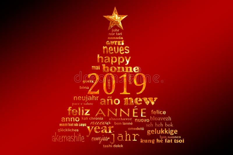 2019 new year multilingual text word cloud greeting card in the shape of a christmas tree vector illustration