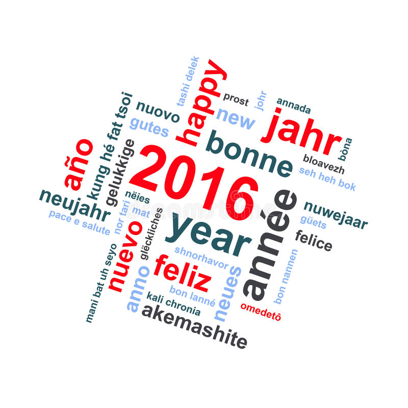 2016 new year multilingual text word cloud greeting card. 2016 new year multilingual text word cloud square greeting card royalty free illustration
