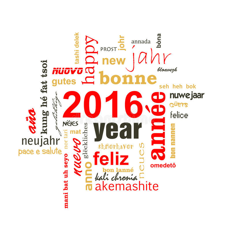 2016 new year multilingual text word cloud. Square greeting card royalty free illustration