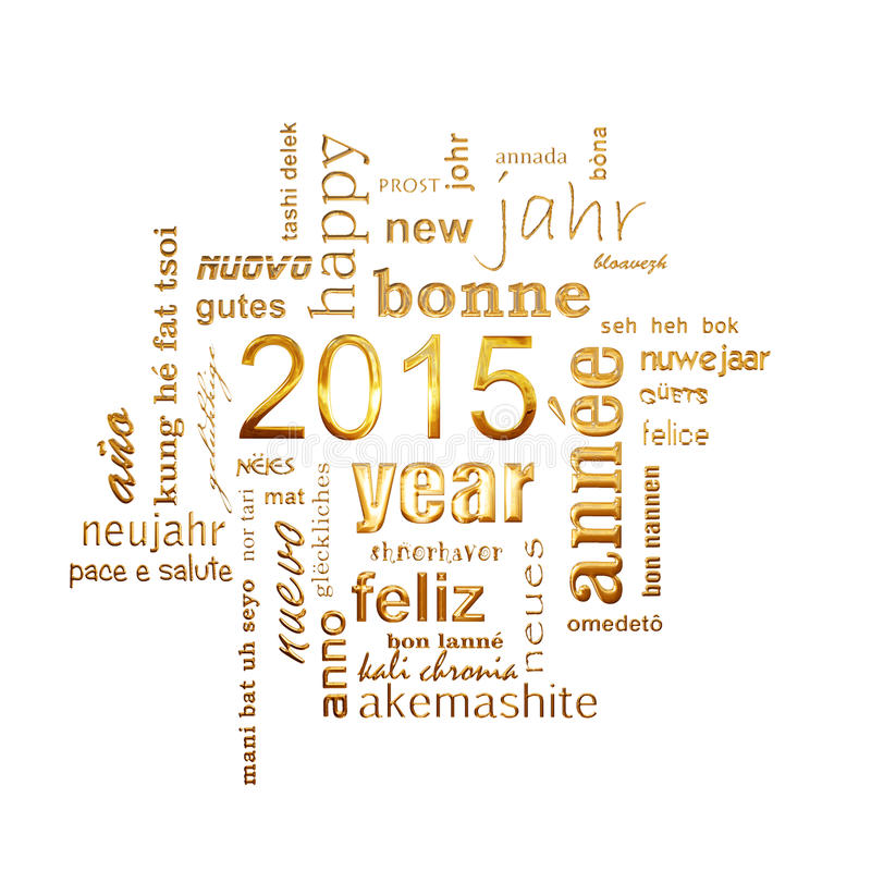 2015 new year multilingual text word cloud square greeting card. 2015 new year multilingual golden text word cloud square greeting card stock illustration