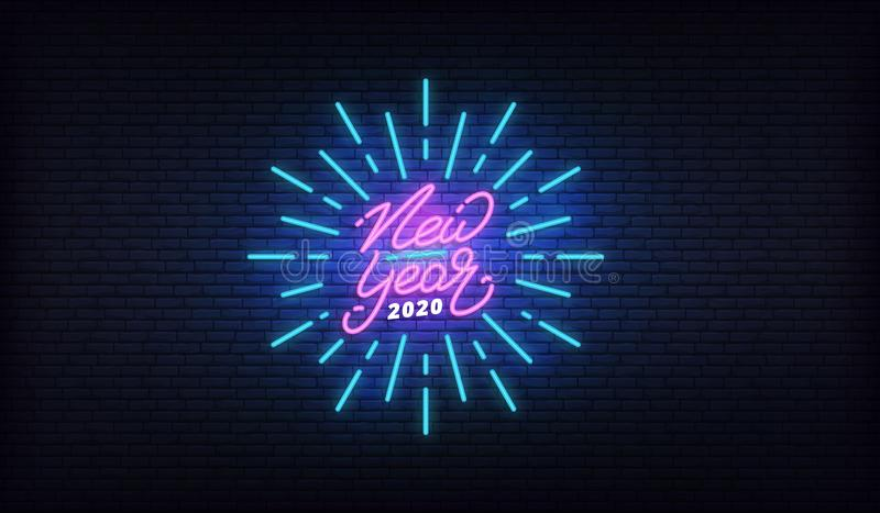 New Year 2020 neon design. New Year glowing neon lettering signboard template.  royalty free illustration