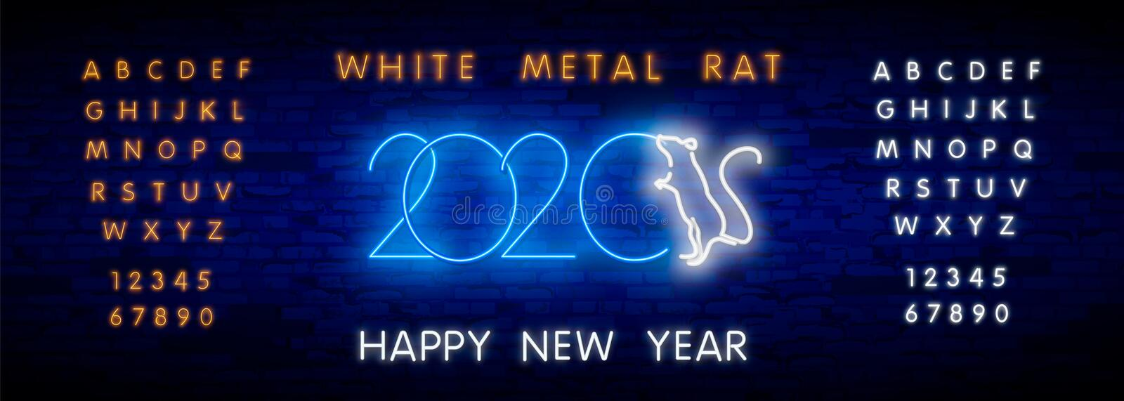 2020 New Year neon sign. Piece of cheese with two thousand twenty numbers and rat on brick background. Vector illustration in neon vector illustration