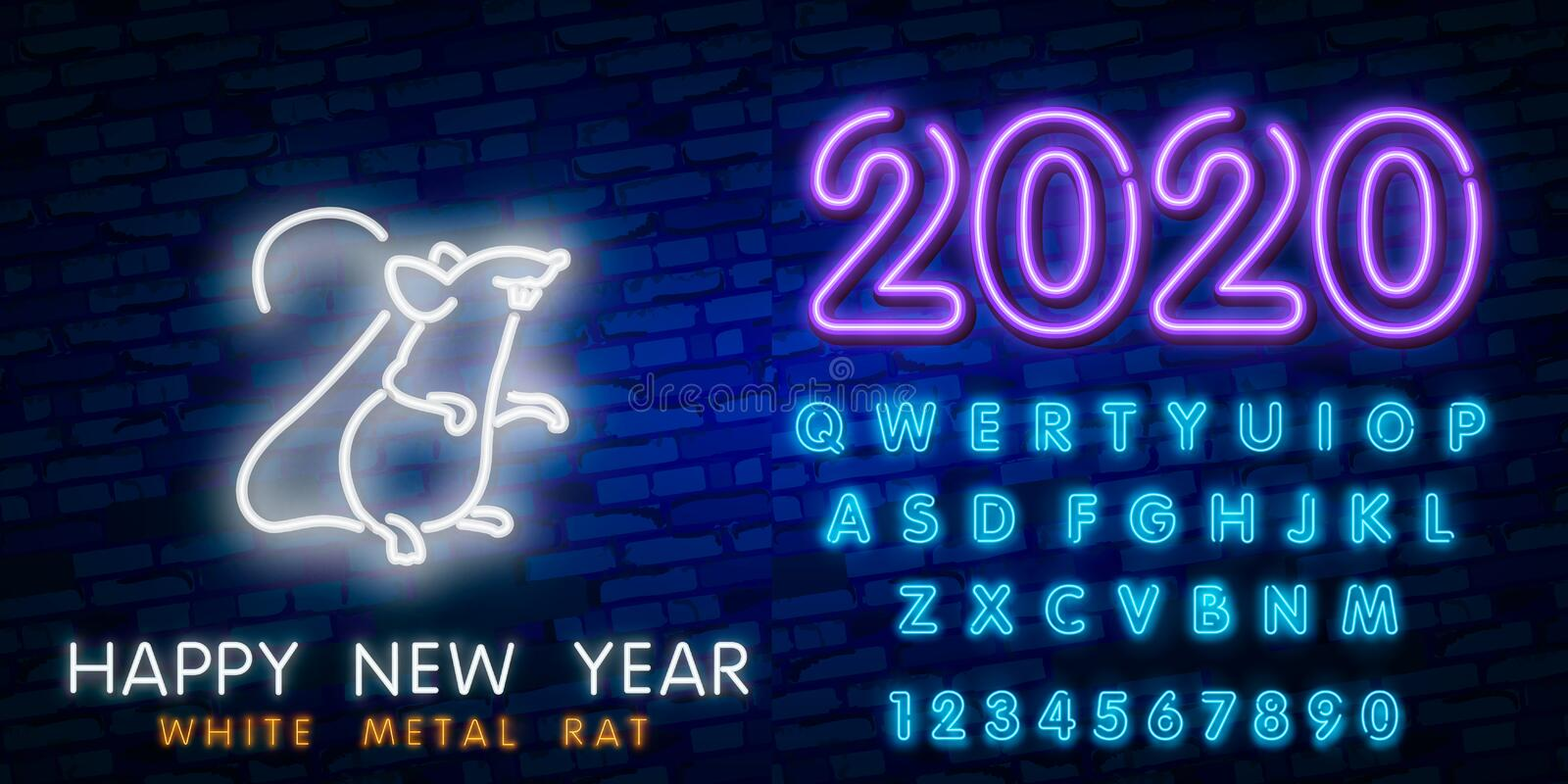 2020 New Year neon sign. Piece of cheese with two thousand twenty numbers and rat on brick background. Vector illustration in neon. New Year neon sign. Piece of royalty free stock photo
