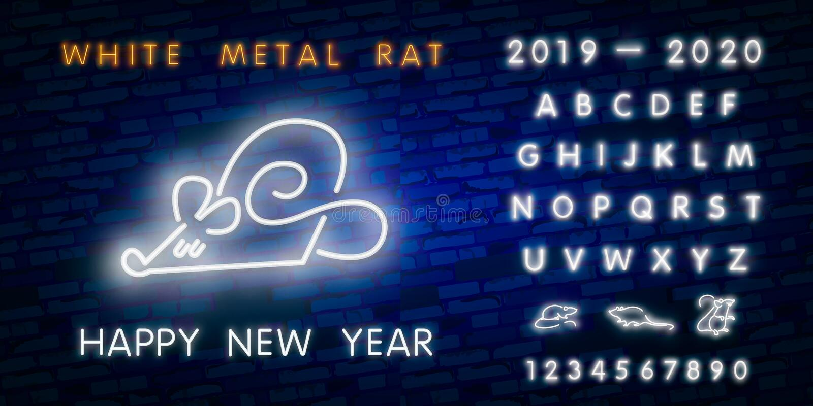 2020 New Year neon sign. Piece of cheese with two thousand twenty numbers and rat on brick background. Vector illustration in neon. New Year neon sign. Piece of royalty free stock images