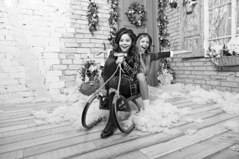 New year new goals. xmas online shopping. Family holiday. Christmas tree and presents. Happy new year. Winter. The. Morning before Xmas. Little girls on sleigh royalty free stock photography